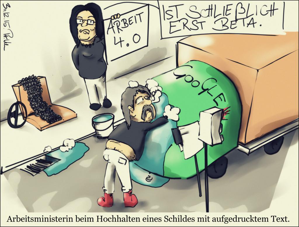 Karikatur: Ein Google Lastwagen wird gewaschen