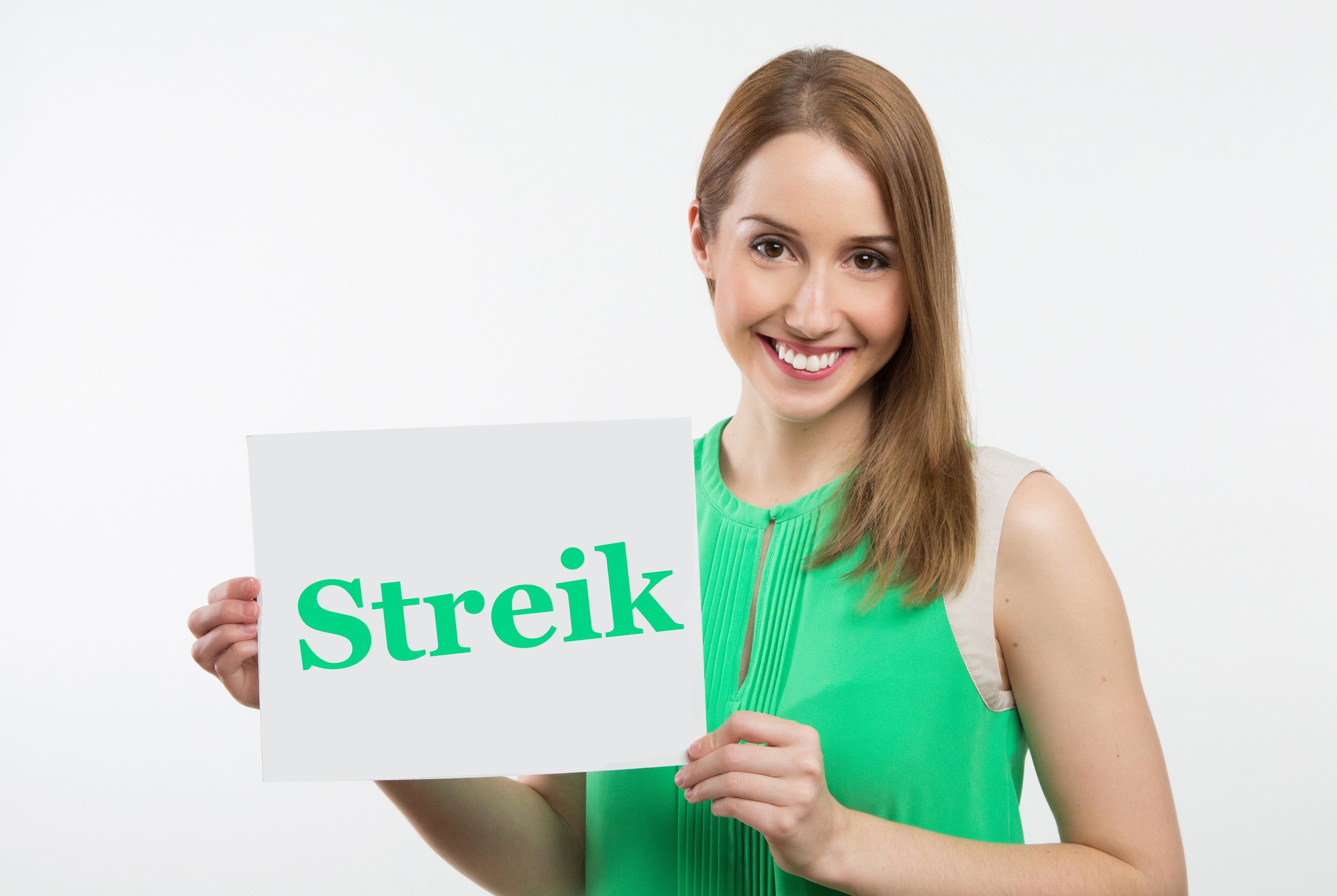 Stockfoto einer streikenden Frau