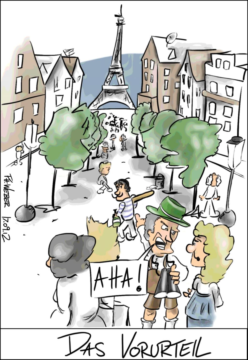 Ein Bayer sieht einen Franzosen mit Hut