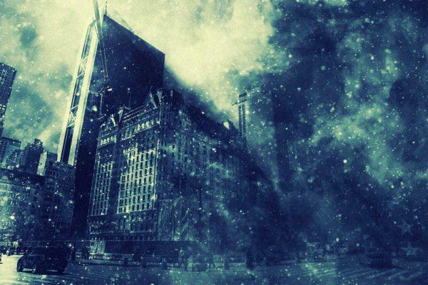 Stadt im Schneegestöber